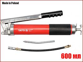 Ручной шприц для смазки с двумя насадками 600 мл Yato YT-07042