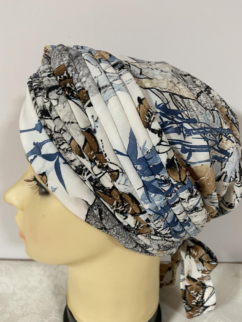 Летняя из тонкого трикотажного полотна  бандана-шапка-косынка-чалма