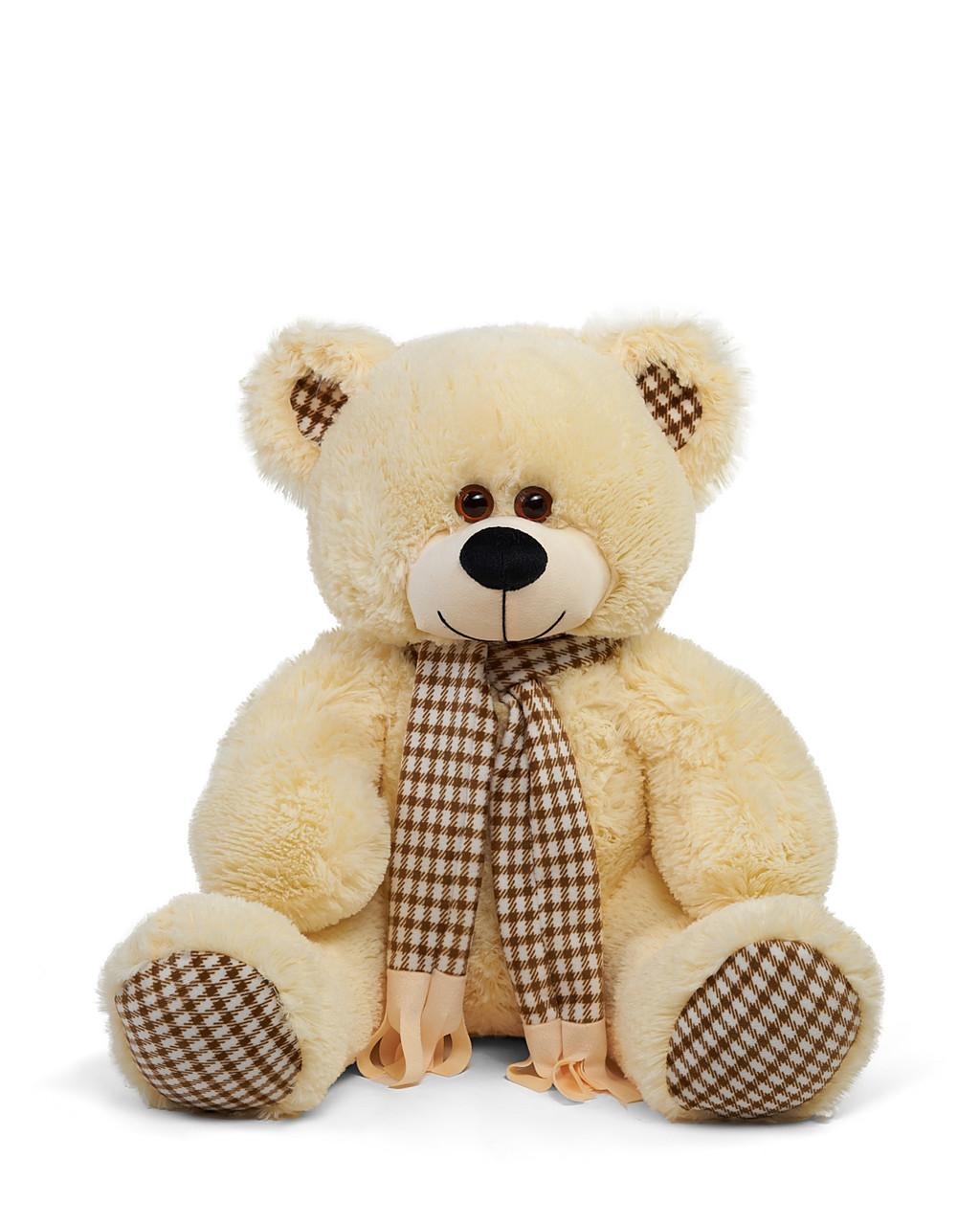 Плюшевый мишка Сеня с шарфом 90 см цвет персиковый   Плюшевый медведь   Мягкая игрушка мишка от производителя