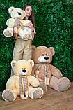 Плюшевый мишка Сеня с шарфом 90 см цвет персиковый   Плюшевый медведь   Мягкая игрушка мишка от производителя, фото 6