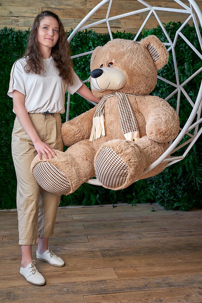 Мишка с шарфом Сеня 130 см цвет коричневый | Медведь плюшевый | Мишка от производителя
