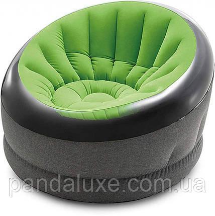 Надувное велюровое кресло 66582 до 100 кг (Зелёный), фото 2