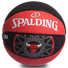 Мяч баскетбольный резиновый №7 SPALDING 83173Z NBA TEAM BULL OUTDOOR (резина, бутил, красный-черный)