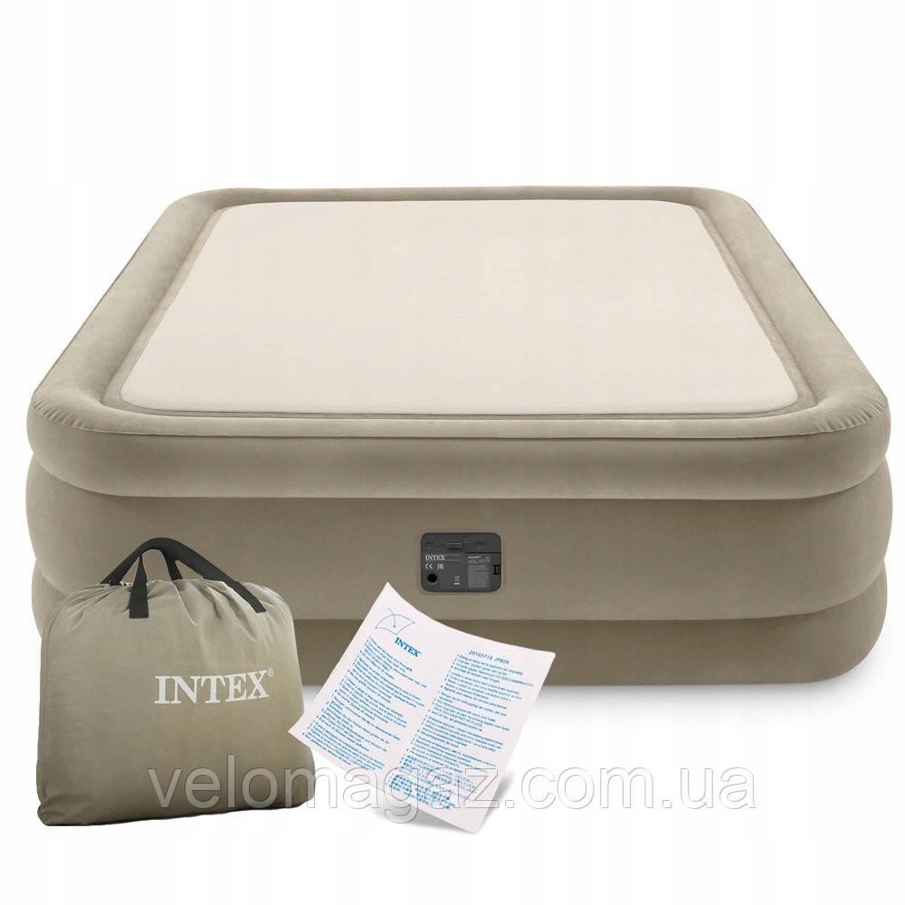 Надувна велюрова ліжко Thermalux 203*152*51 см двоспальне з вбудованим насосом Intex 64478