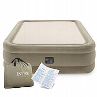 Надувна велюрова ліжко Thermalux 203*152*51 см двоспальне з вбудованим насосом Intex 64478, фото 1