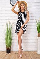 Летнее женское платье в горох и полоску цвет Черно-белый 104R0002