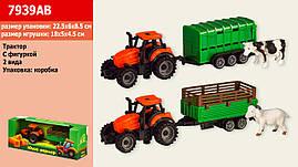 """Трактор інерції. 7939AB (120шт   2) укр.упаковка """"Юний фермер"""" 2 увазі з тварин, у коробці 22,5 * 6 * 8,5 см"""