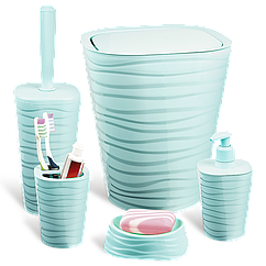 Набор для ванной комнаты Planet Welle 5 предметов серо-голубой
