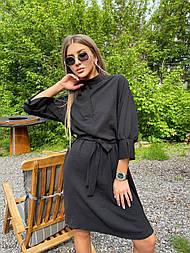 Платье-рубашка с поясом черное жатка