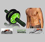 Гімнастичне спортивне фітнес колесо Double wheel Abs health abdomen round | Тренажер-ролик для м'язів, фото 2