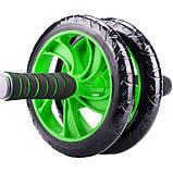 Гімнастичне спортивне фітнес колесо Double wheel Abs health abdomen round | Тренажер-ролик для м'язів, фото 5