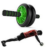 Гімнастичне спортивне фітнес колесо Double wheel Abs health abdomen round | Тренажер-ролик для м'язів, фото 8