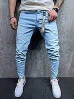 Мужские джинсы голубого цвета (голубые) с потертостями, штаны зауженные 2Y Premium Турция