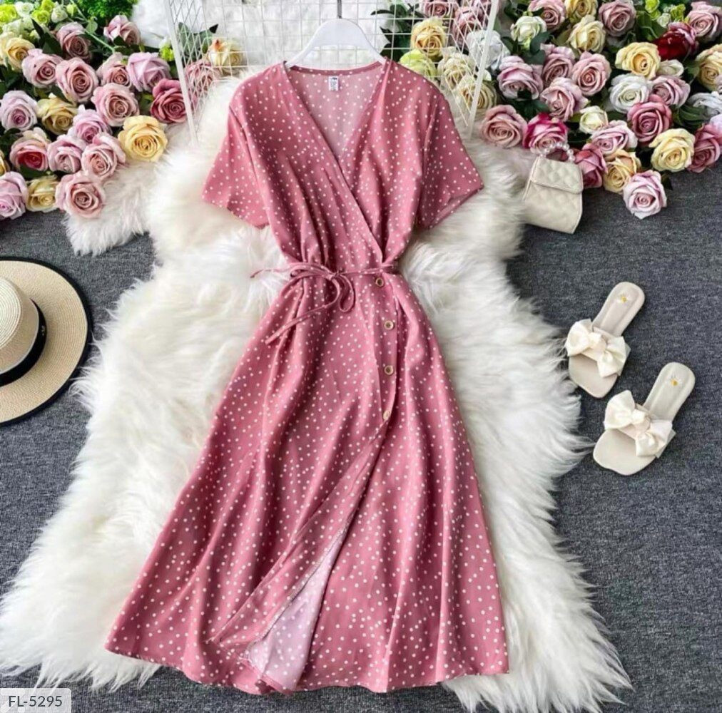 Платье-халат софт в горошек