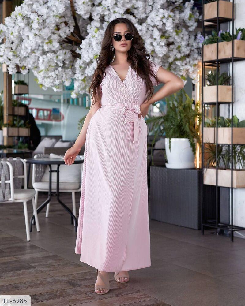 Сукня софт на запах в смужку (Батал)