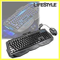 Проводная Клавиатура и Мышь V100 с подсветкой