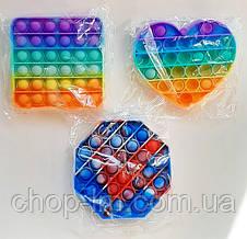 Игрушка Pop It антистресс пупырки НАБОР (поп ит сердце, квадрат, 8-миугольник) попит Popit