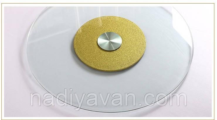 Стіл поворотний круг 80см*135мм, обідній стіл без ніжок центр золото