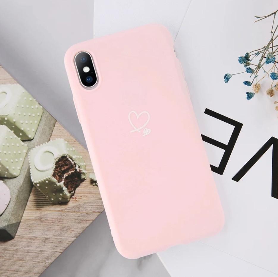 Силіконовий чохол USLION для Apple iPhone X / XS з сердечками світло-рожевий