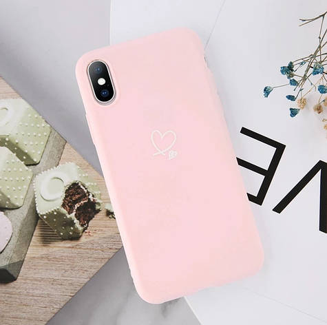 Силіконовий чохол USLION для Apple iPhone X / XS з сердечками світло-рожевий, фото 2