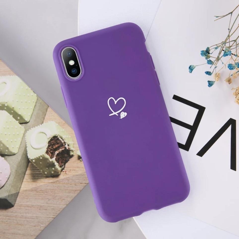 Силиконовый чехол USLION для Apple iPhone X / XS с сердечками фиолетовый