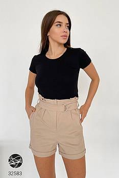 Повседневные джинсовые шорты с завышенной талией и карманами по бокам с 42 по 48 размер