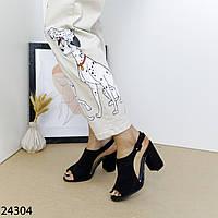 Жіночі босоніжки на маленькому підборах чорного кольору, фото 1