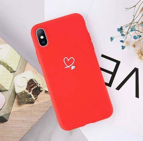 Силиконовый чехол USLION для Apple iPhone X / XS с сердечками красный, фото 2