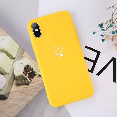 Силиконовый чехол USLION для Apple iPhone X / XS с сердечками желтый, фото 2