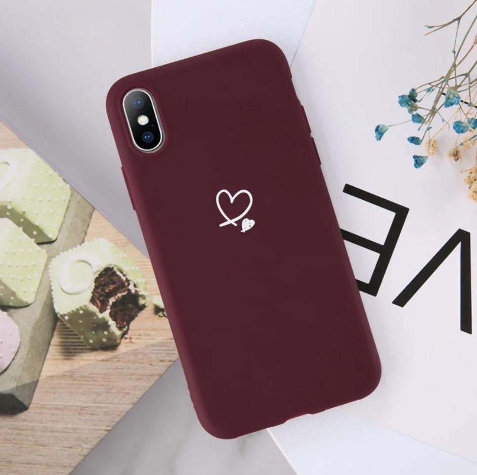 Силіконовий чохол USLION для Apple iPhone X / XS з сердечками бордовий