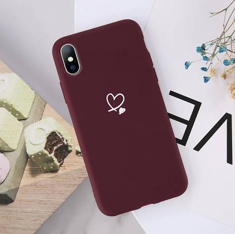 Силіконовий чохол USLION для Apple iPhone X / XS з сердечками бордовий, фото 2