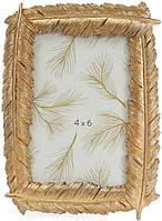 Фоторамка Золотые перья для фото 10х15см состаренное золото BD-450-141