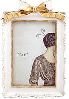 Фоторамка Золотой Бант для фото 10х15см белый с золотом BD-450-180