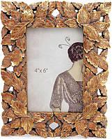 Фоторамка Золотые листочки для фото 10х15см золотая патина BD-450-182