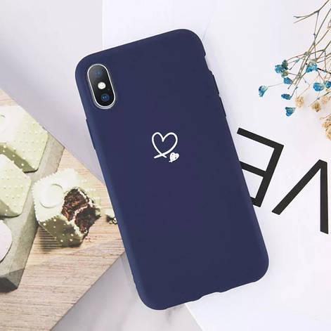 Силиконовый чехол USLION для Apple iPhone X / XS с сердечками синий, фото 2