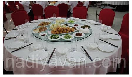 Стіл поворотний круг 80см*135мм, обідній стіл без ніжок центр хром, фото 2