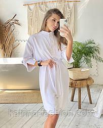 Платье-рубашка с поясом белое жатка