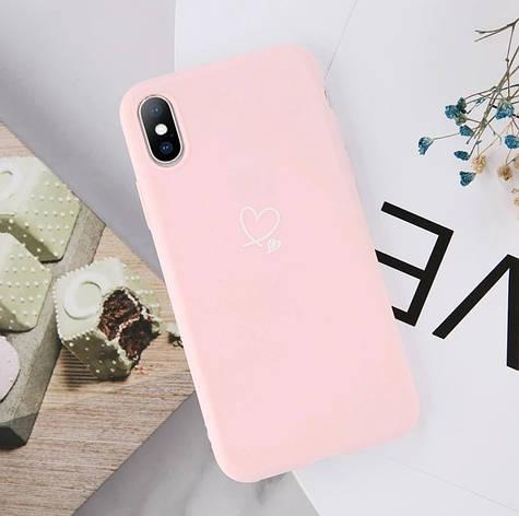 Силиконовый чехол USLION для Apple iPhone 11 с сердечками светло-розовый, фото 2