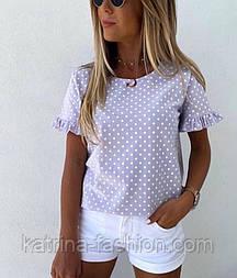 Блуза в горошок річна з рюшами/оборками на рукавах (в кольорах)