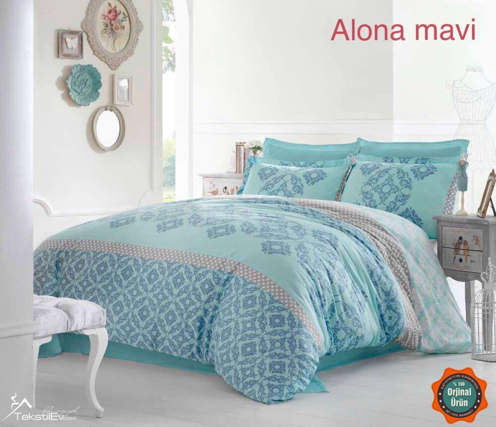Постельное белье Altinbasak сатин 200x220 Alona mavi