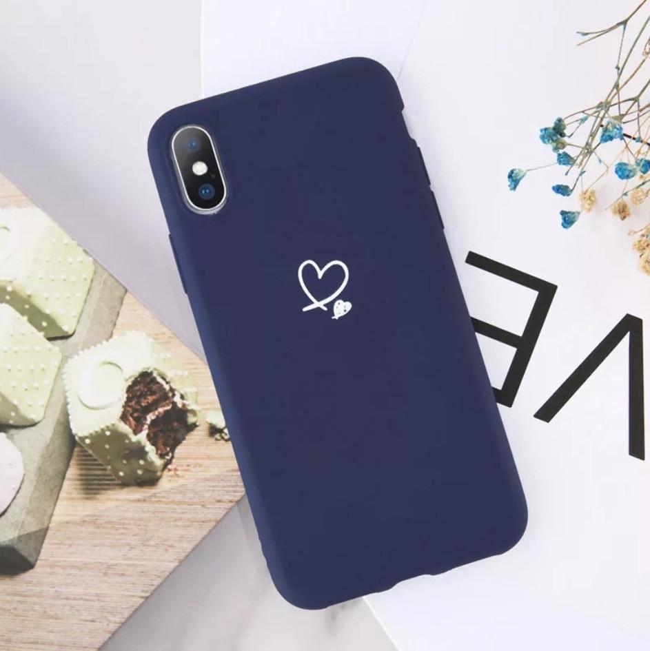 Силиконовый чехол USLION для Apple iPhone 11 с сердечками синий