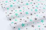 """Отрез сатина """"Звёздная россыпь"""" мятно-серая на белом, №2758с, размер 113*160, фото 4"""