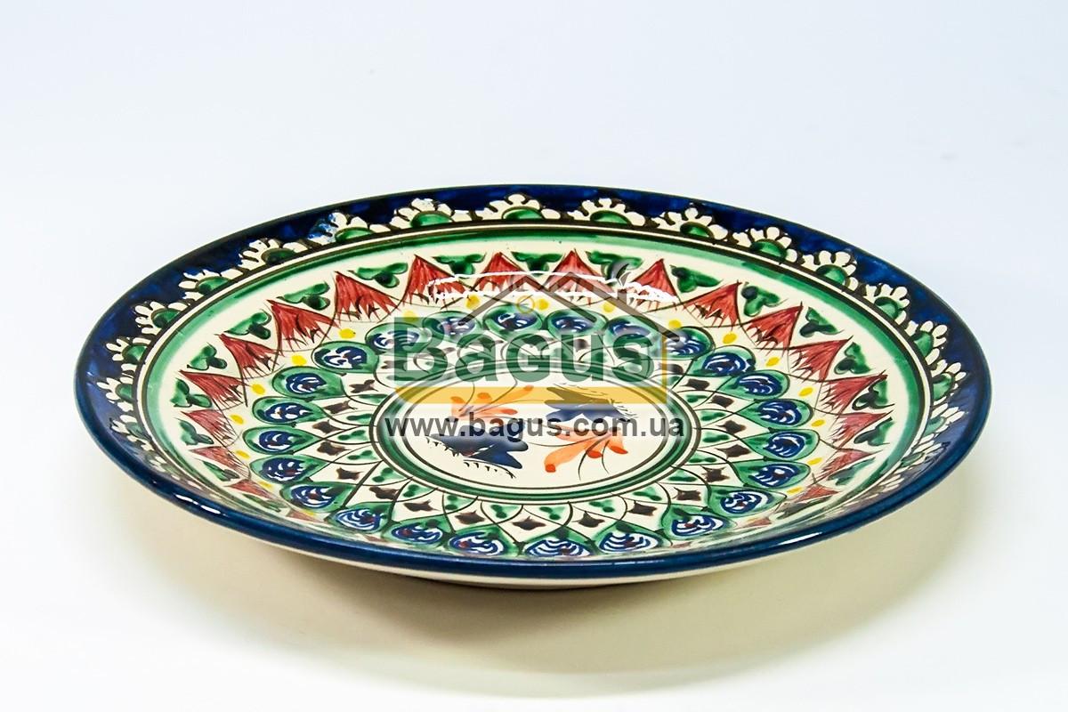 Тарелка узбекская диаметр 23см высота 3см ручная работа 2303-05