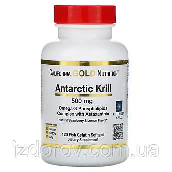 California Gold Nutrition, Масло антарктического криля с астаксантином, 500 мг, 120 рыбно-желатиновых таблеток