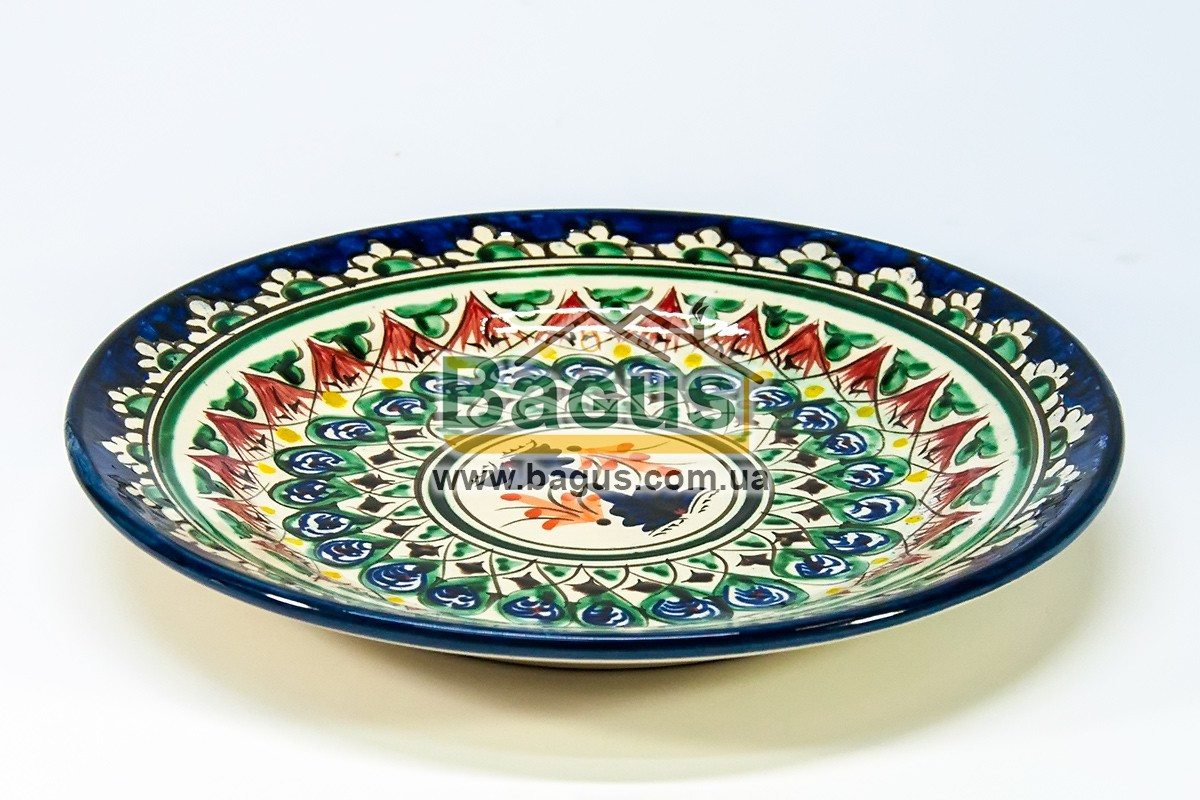 Тарелка узбекская диаметр 23см высота 3см ручная работа 2303-09