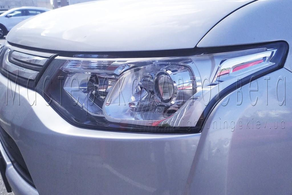 Mitsubishi Outlander SE USA - установка светодиодных Bi-LED линз в фары