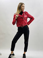 Весенняя осенняя красная женская кожаная куртка косуха