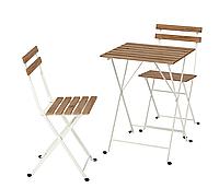 Стіл + 2 крісла для саду, стол стулья для сада, IKEA, Tarno, тарно, садові меблі, белый 593.124.10