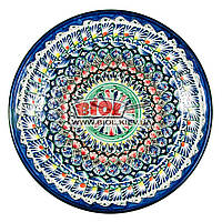 Ляган (узбекская тарелка) 33х6,5см для подачи плова керамический (ручная роспись) (вариант 2), фото 1