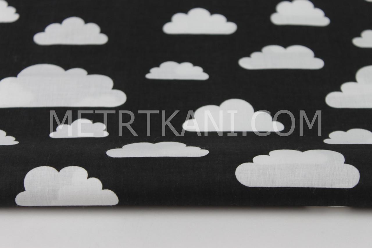 """Клаптик. Тканина бавовняна """"Хмари різних розмірів"""" білі на чорному тлі , 34*65 см"""